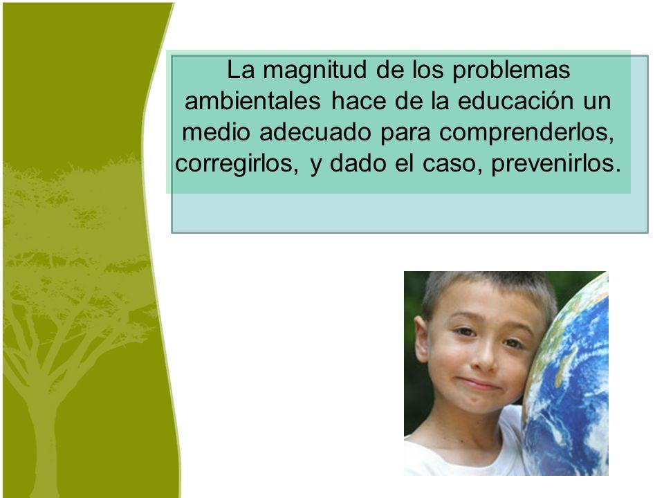 La magnitud de los problemas ambientales hace de la educación un medio adecuado para comprenderlos, corregirlos, y dado el caso, prevenirlos.