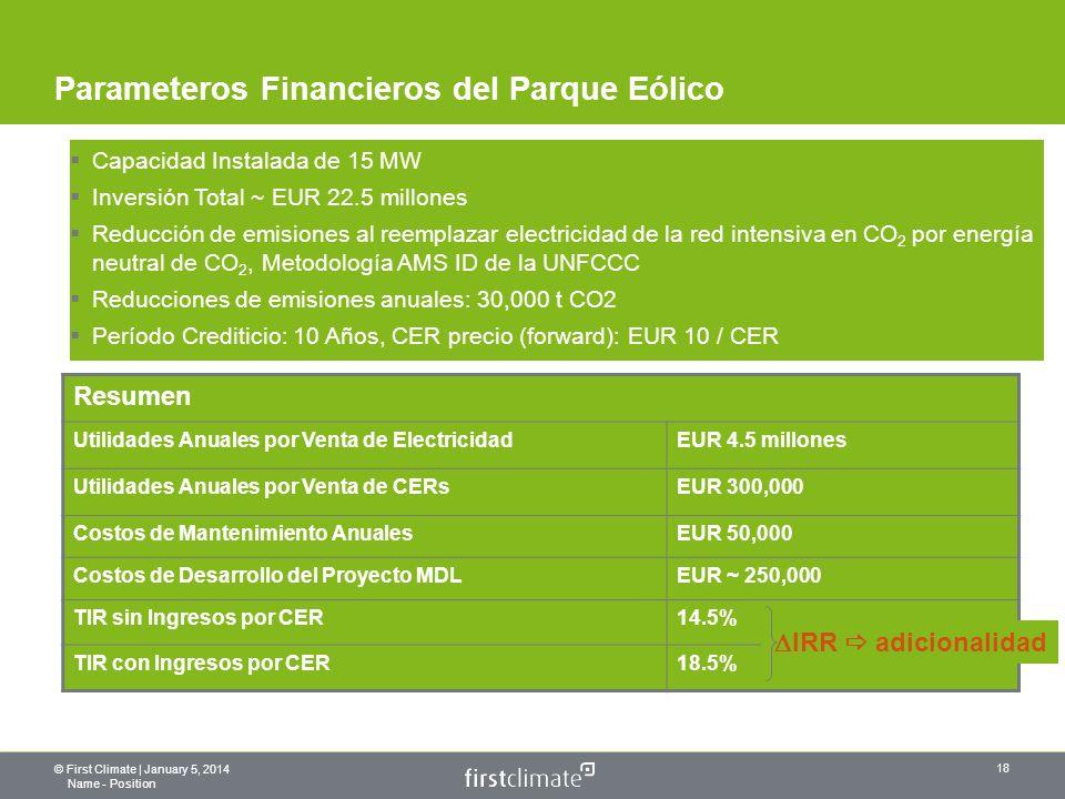 © First Climate | January 5, 2014 Name - Position 18 Parameteros Financieros del Parque Eólico Capacidad Instalada de 15 MW Inversión Total ~ EUR 22.5 millones Reducción de emisiones al reemplazar electricidad de la red intensiva en CO 2 por energía neutral de CO 2, Metodología AMS ID de la UNFCCC Reducciones de emisiones anuales: 30,000 t CO2 Período Crediticio: 10 Años, CER precio (forward): EUR 10 / CER Resumen Utilidades Anuales por Venta de ElectricidadEUR 4.5 millones Utilidades Anuales por Venta de CERsEUR 300,000 Costos de Mantenimiento AnualesEUR 50,000 Costos de Desarrollo del Proyecto MDLEUR ~ 250,000 TIR sin Ingresos por CER14.5% TIR con Ingresos por CER18.5% IRR adicionalidad