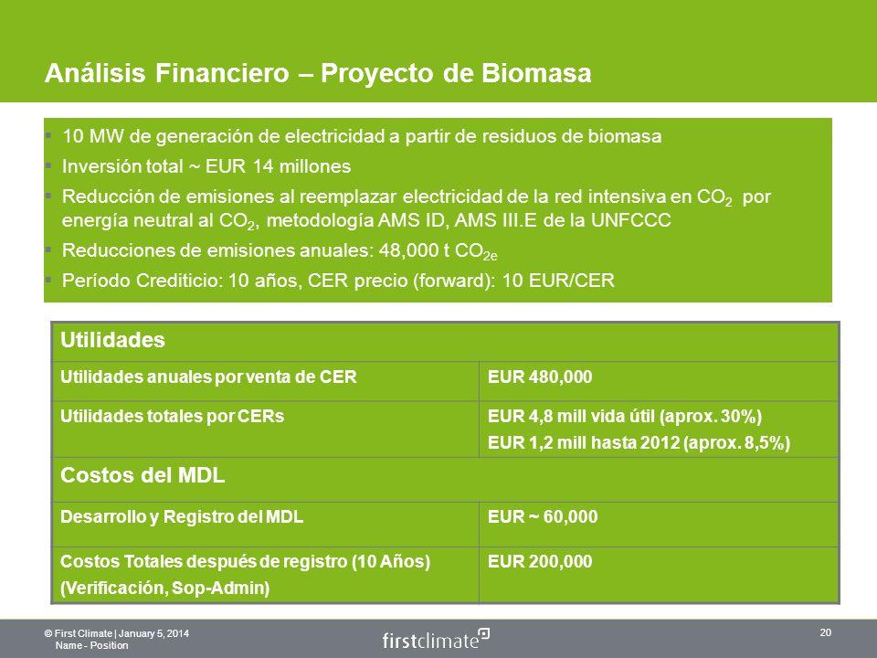 © First Climate | January 5, 2014 Name - Position 20 Análisis Financiero – Proyecto de Biomasa 10 MW de generación de electricidad a partir de residuos de biomasa Inversión total ~ EUR 14 millones Reducción de emisiones al reemplazar electricidad de la red intensiva en CO 2 por energía neutral al CO 2, metodología AMS ID, AMS III.E de la UNFCCC Reducciones de emisiones anuales: 48,000 t CO 2e Período Crediticio: 10 años, CER precio (forward): 10 EUR/CER Utilidades Utilidades anuales por venta de CEREUR 480,000 Utilidades totales por CERsEUR 4,8 mill vida útil (aprox.