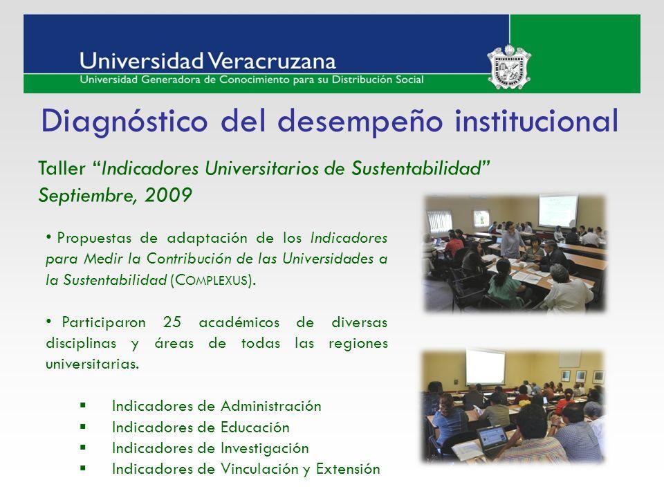 Taller Indicadores Universitarios de Sustentabilidad Septiembre, 2009 Diagnóstico del desempeño institucional Propuestas de adaptación de los Indicado