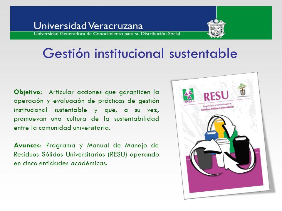 Gestión institucional sustentable Objetivo: Articular acciones que garanticen la operación y evaluación de prácticas de gestión institucional sustenta