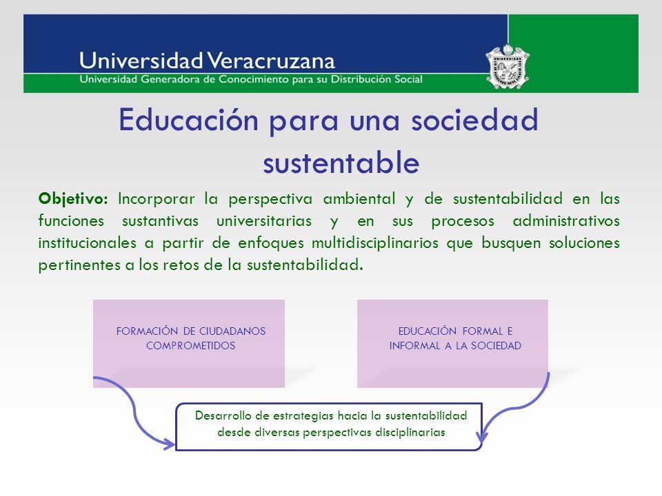 Educación para una sociedad sustentable Objetivo: Incorporar la perspectiva ambiental y de sustentabilidad en las funciones sustantivas universitarias