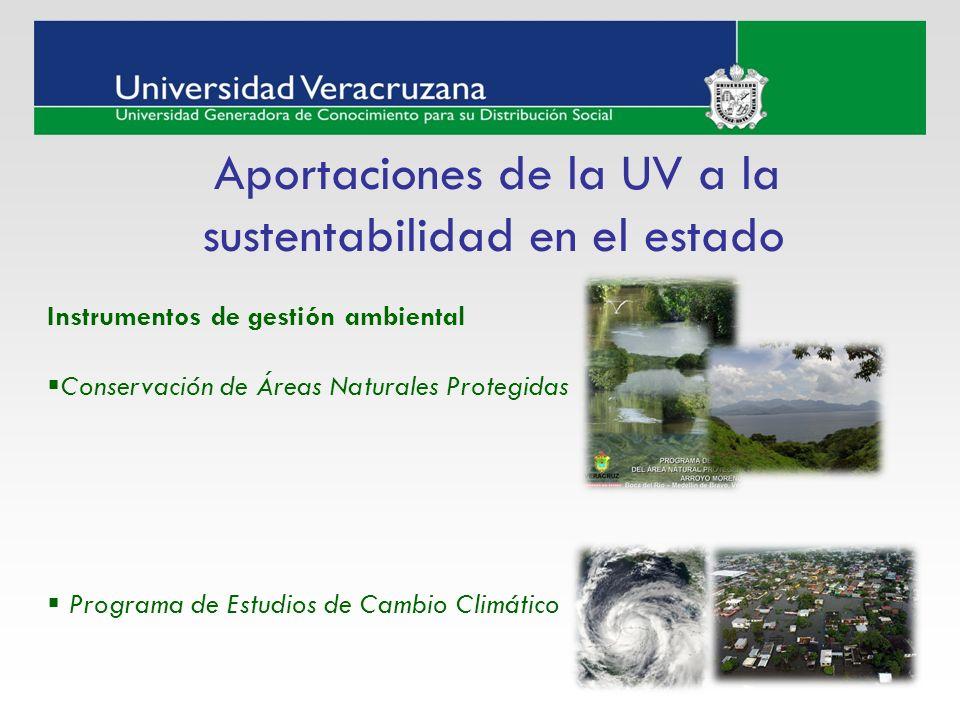 Aportaciones de la UV a la sustentabilidad en el estado Instrumentos de gestión ambiental Conservación de Áreas Naturales Protegidas Programa de Estud