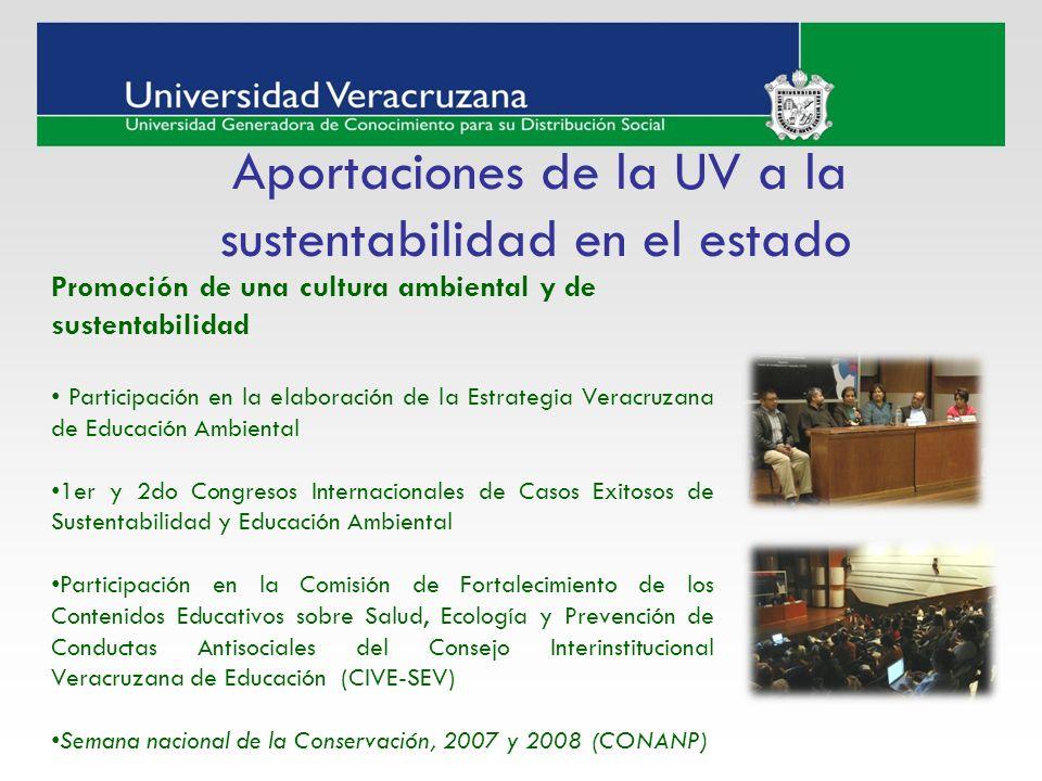 Aportaciones de la UV a la sustentabilidad en el estado Promoción de una cultura ambiental y de sustentabilidad Participación en la elaboración de la
