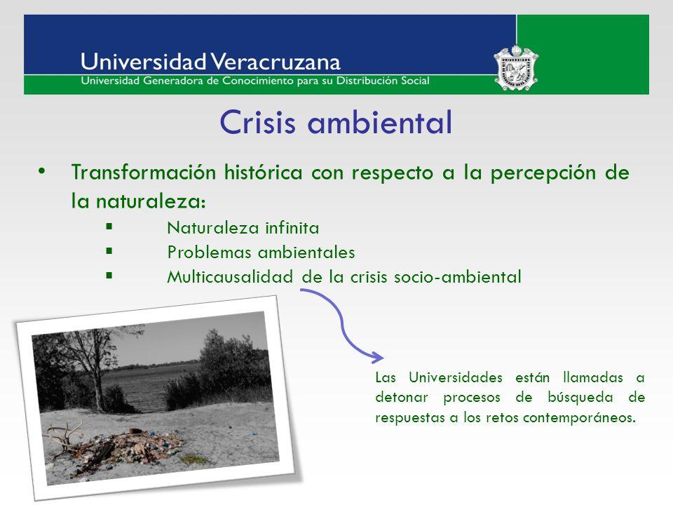 Transformación histórica con respecto a la percepción de la naturaleza: Naturaleza infinita Problemas ambientales Multicausalidad de la crisis socio-a