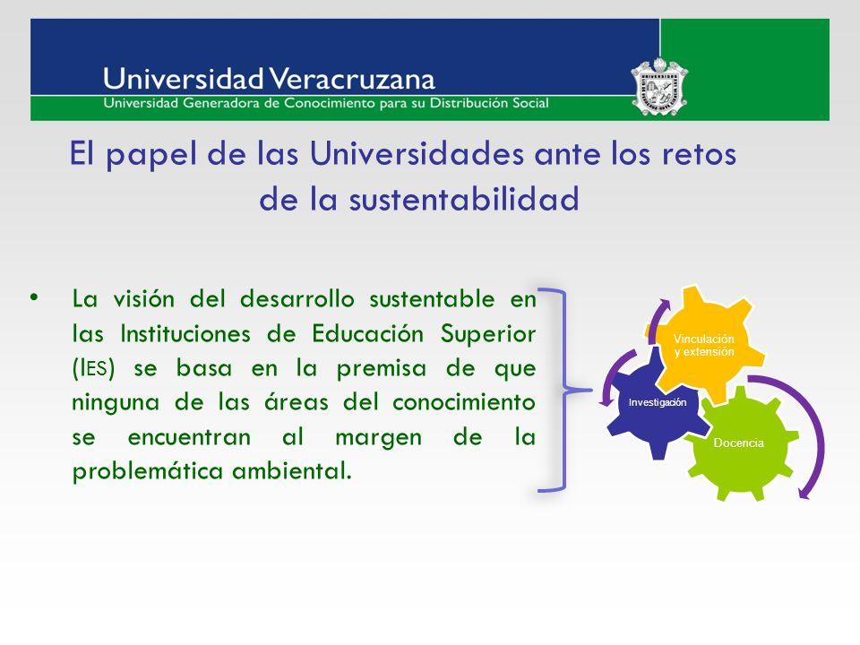 La visión del desarrollo sustentable en las Instituciones de Educación Superior (I ES ) se basa en la premisa de que ninguna de las áreas del conocimi