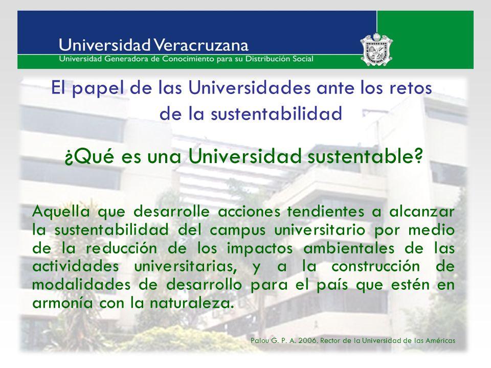 Aquella que desarrolle acciones tendientes a alcanzar la sustentabilidad del campus universitario por medio de la reducción de los impactos ambientale