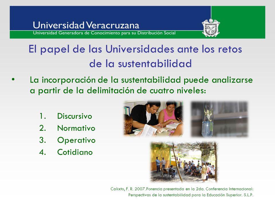 La incorporación de la sustentabilidad puede analizarse a partir de la delimitación de cuatro niveles: 1.Discursivo 2.Normativo 3.Operativo 4.Cotidian