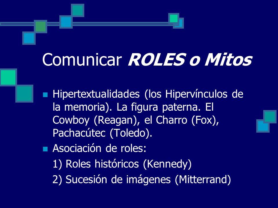 Comunicar ROLES o Mitos Hipertextualidades (los Hipervínculos de la memoria). La figura paterna. El Cowboy (Reagan), el Charro (Fox), Pachacútec (Tole