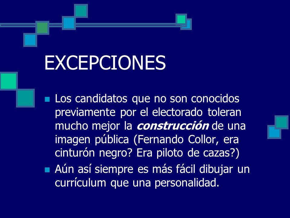 EXCEPCIONES Los candidatos que no son conocidos previamente por el electorado toleran mucho mejor la construcción de una imagen pública (Fernando Coll