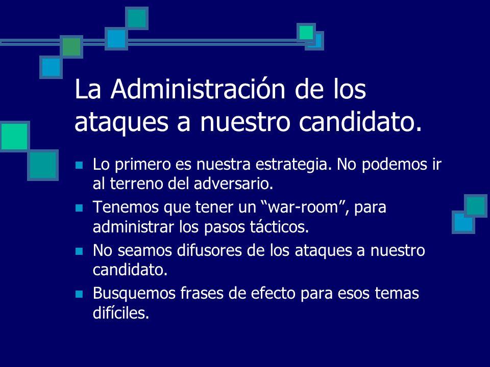 La Administración de los ataques a nuestro candidato. Lo primero es nuestra estrategia. No podemos ir al terreno del adversario. Tenemos que tener un