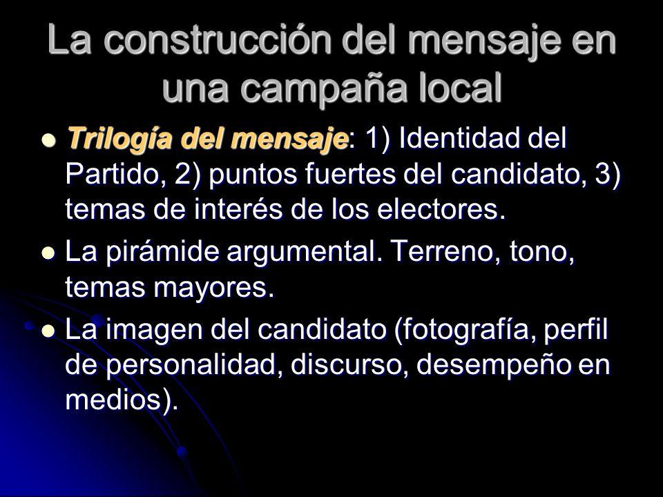 La construcción del mensaje en una campaña local Trilogía del mensaje: 1) Identidad del Partido, 2) puntos fuertes del candidato, 3) temas de interés