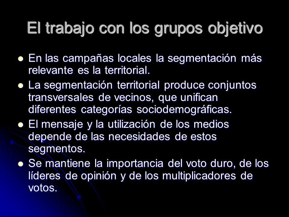 El trabajo con los grupos objetivo En las campañas locales la segmentación más relevante es la territorial. En las campañas locales la segmentación má