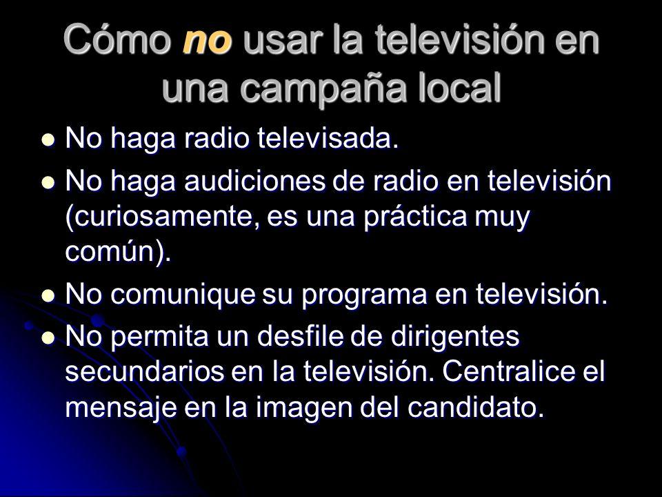 Cómo no usar la televisión en una campaña local No haga radio televisada. No haga radio televisada. No haga audiciones de radio en televisión (curiosa