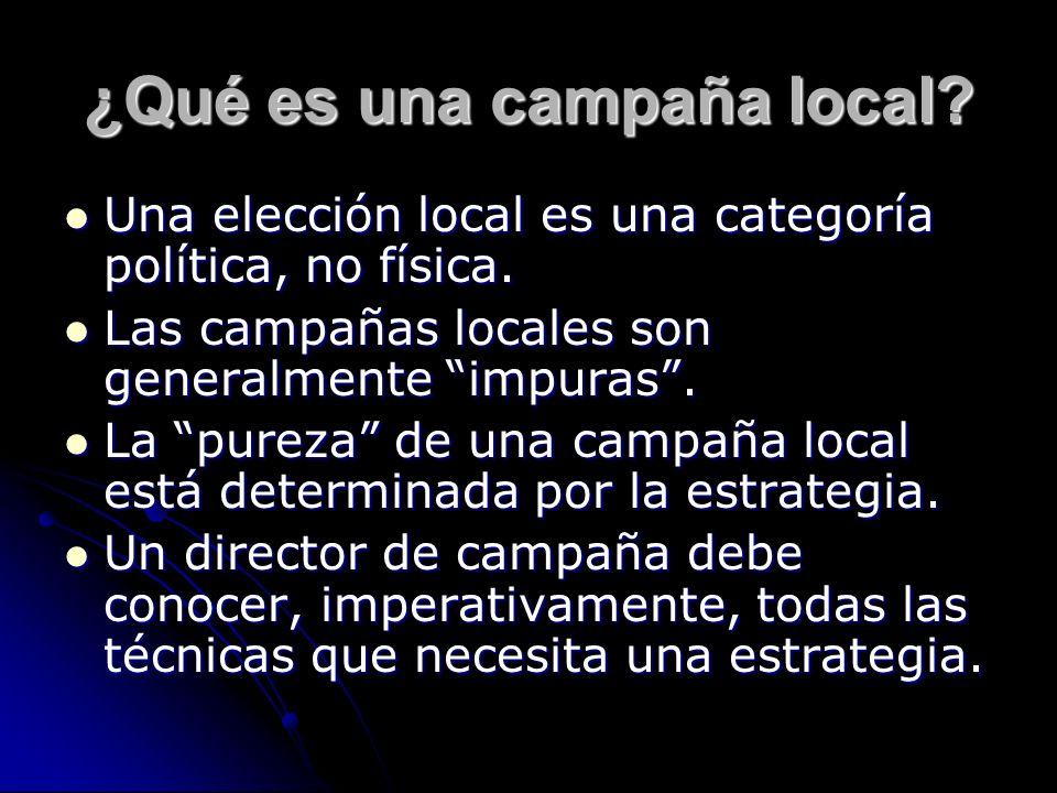 ¿Qué es una campaña local? Una elección local es una categoría política, no física. Una elección local es una categoría política, no física. Las campa