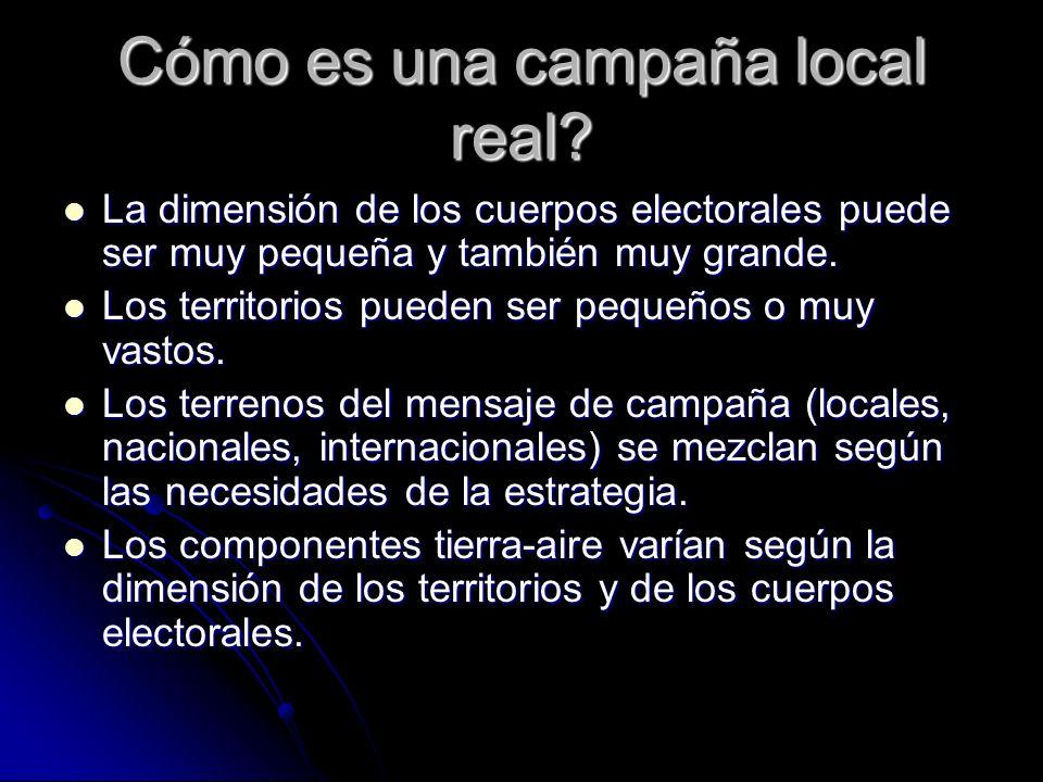 Cómo es una campaña local real? La dimensión de los cuerpos electorales puede ser muy pequeña y también muy grande. La dimensión de los cuerpos electo