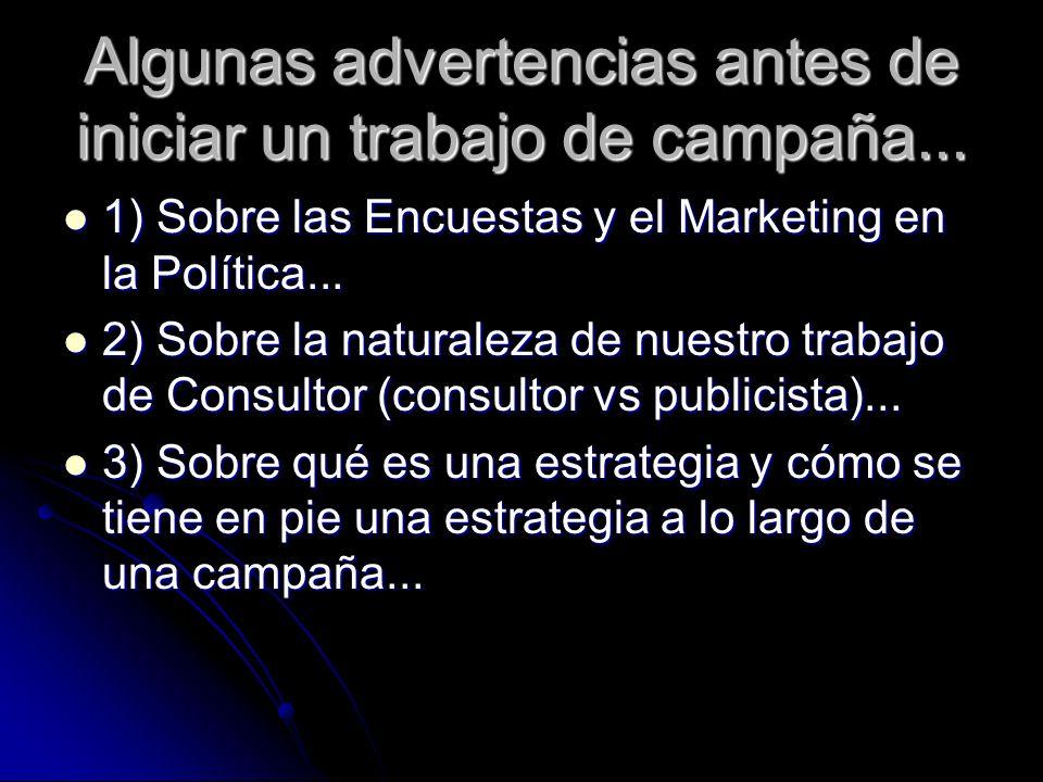 Algunas advertencias antes de iniciar un trabajo de campaña... 1) Sobre las Encuestas y el Marketing en la Política... 1) Sobre las Encuestas y el Mar