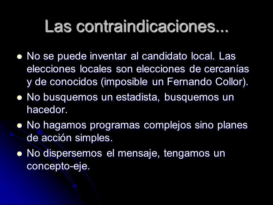 Las contraindicaciones... No se puede inventar al candidato local. Las elecciones locales son elecciones de cercanías y de conocidos (imposible un Fer