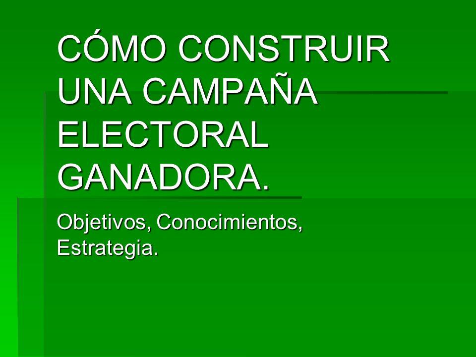 CÓMO CONSTRUIR UNA CAMPAÑA ELECTORAL GANADORA. Objetivos, Conocimientos, Estrategia.