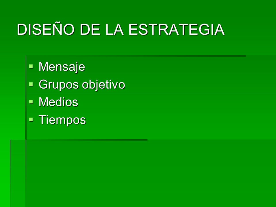 DISEÑO DE LA ESTRATEGIA Mensaje Mensaje Grupos objetivo Grupos objetivo Medios Medios Tiempos Tiempos