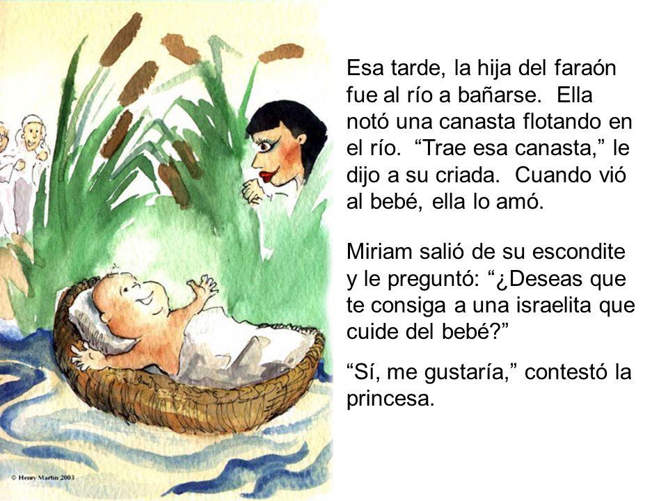 Esa tarde, la hija del faraón fue al río a bañarse. Ella notó una canasta flotando en el río. Trae esa canasta, le dijo a su criada. Cuando vió al beb