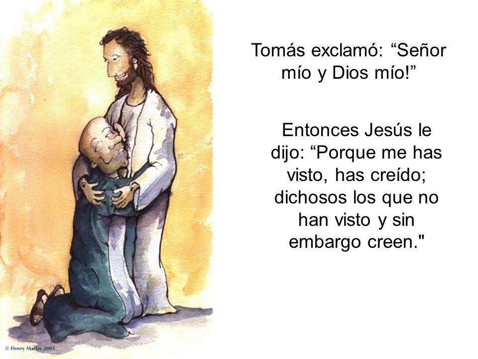 Tomás exclamó: Señor mío y Dios mío! Entonces Jesús le dijo: Porque me has visto, has creído; dichosos los que no han visto y sin embargo creen.