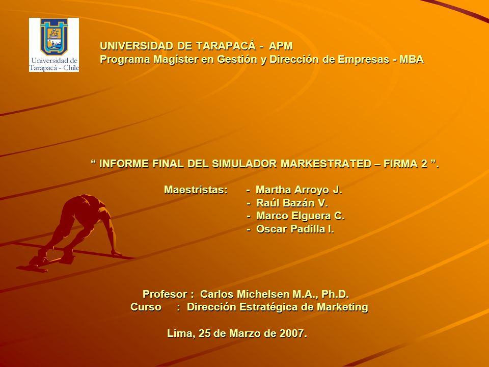 UNIVERSIDAD DE TARAPACÁ - APM Programa Magíster en Gestión y Dirección de Empresas - MBA INFORME FINAL DEL SIMULADOR MARKESTRATED – FIRMA 2. Maestrist
