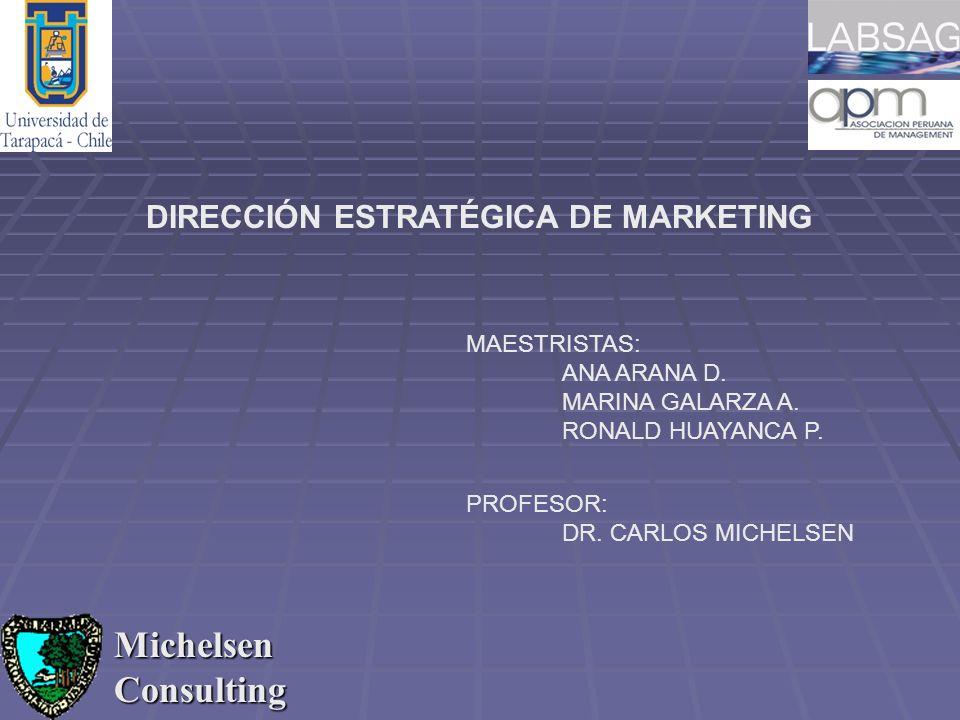 Michelsen Consulting DIRECCIÓN ESTRATÉGICA DE MARKETING PROFESOR: DR. CARLOS MICHELSEN MAESTRISTAS: ANA ARANA D. MARINA GALARZA A. RONALD HUAYANCA P.