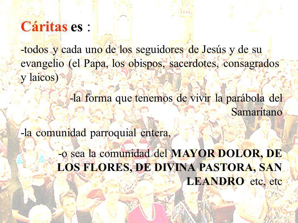En una comunidad parroquial pueden existir: -grupos apostólicos, hermandades, catequesis, talleres, etc -pero si no hay Cáritas no hay comunidad parroquial.