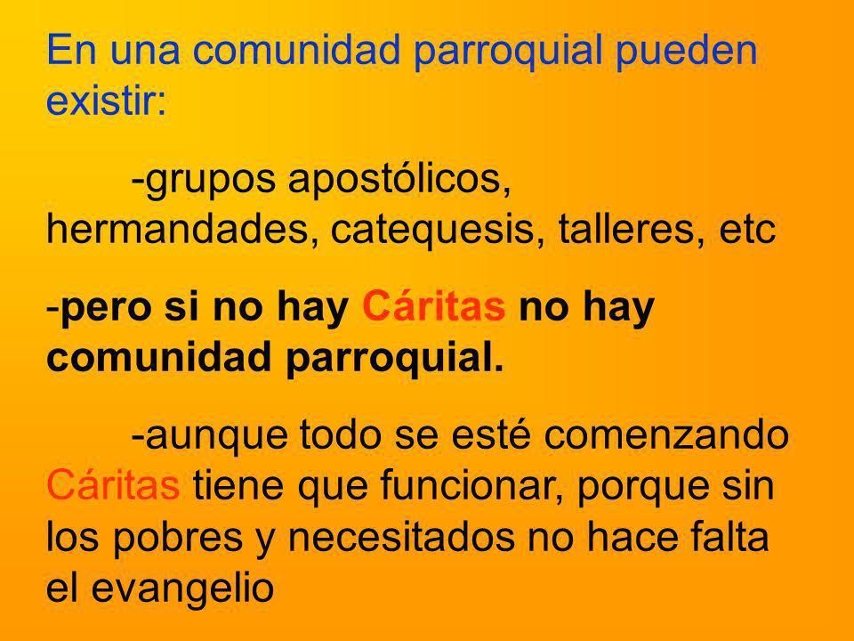 En una comunidad parroquial pueden existir: -grupos apostólicos, hermandades, catequesis, talleres, etc -pero si no hay Cáritas no hay comunidad parro