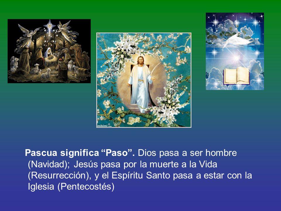 Pascua significa Paso. Dios pasa a ser hombre (Navidad); Jesús pasa por la muerte a la Vida (Resurrección), y el Espíritu Santo pasa a estar con la Ig