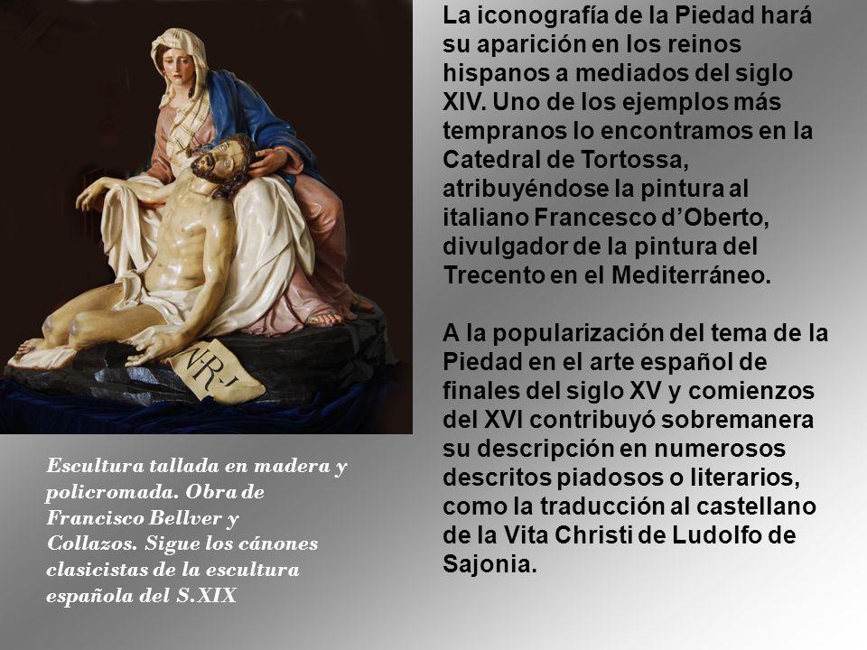 Escultura tallada en madera y policromada.Obra de Francisco Bellver y Collazos.