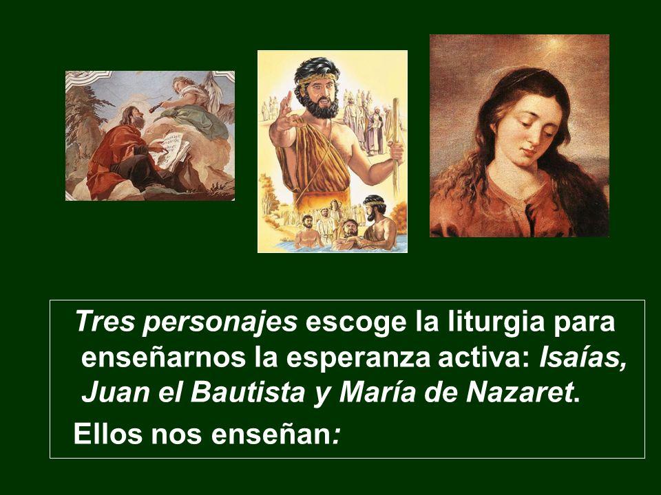 Tres personajes escoge la liturgia para enseñarnos la esperanza activa: Isaías, Juan el Bautista y María de Nazaret. Ellos nos enseñan: