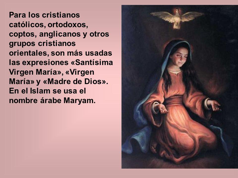 Para los cristianos católicos, ortodoxos, coptos, anglicanos y otros grupos cristianos orientales, son más usadas las expresiones «Santísima Virgen Ma