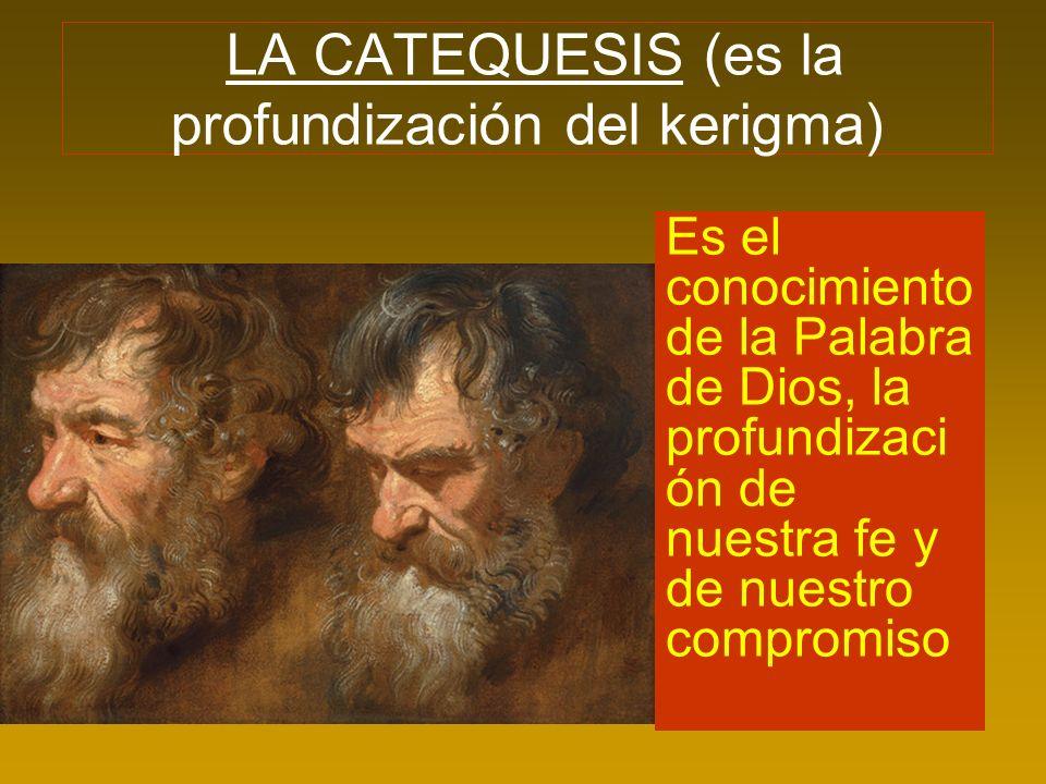 LA CATEQUESIS (es la profundización del kerigma) Es el conocimiento de la Palabra de Dios, la profundizaci ón de nuestra fe y de nuestro compromiso