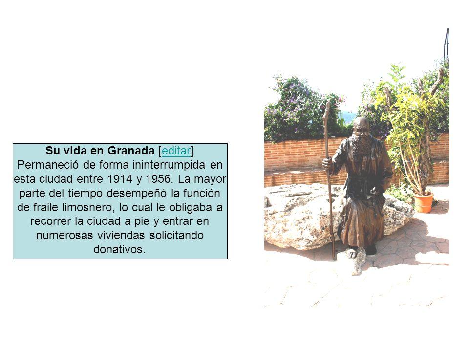 Su vida en Granada [editar]editar Permaneció de forma ininterrumpida en esta ciudad entre 1914 y 1956. La mayor parte del tiempo desempeñó la función