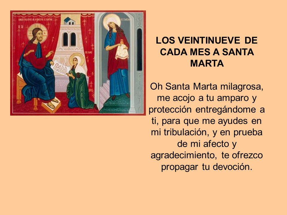 LOS VEINTINUEVE DE CADA MES A SANTA MARTA Oh Santa Marta milagrosa, me acojo a tu amparo y protección entregándome a ti, para que me ayudes en mi tribulación, y en prueba de mi afecto y agradecimiento, te ofrezco propagar tu devoción.