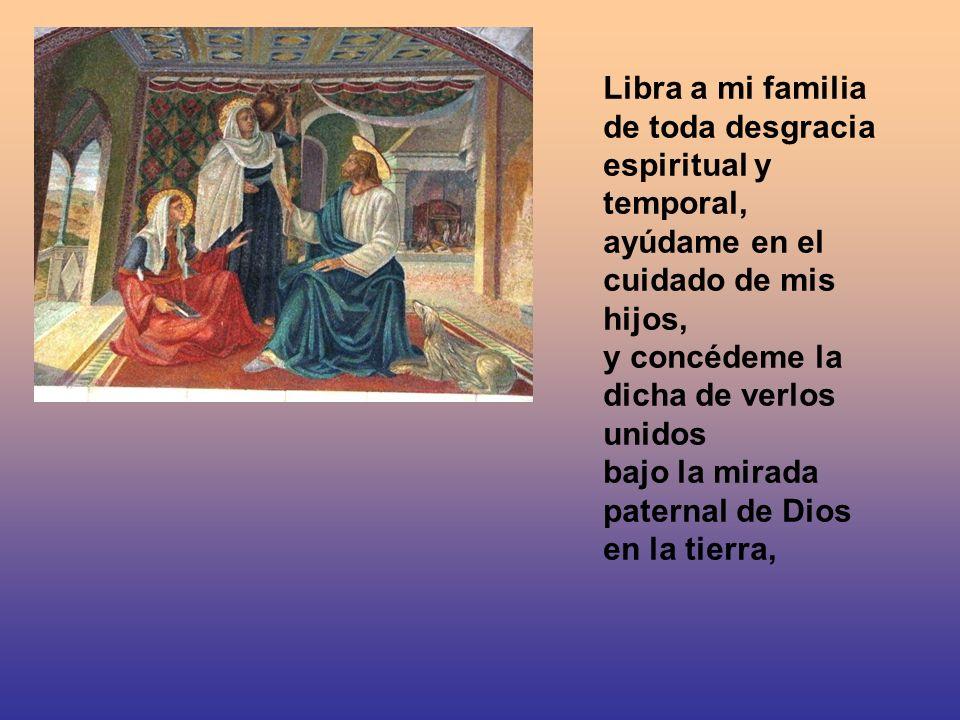 Libra a mi familia de toda desgracia espiritual y temporal, ayúdame en el cuidado de mis hijos, y concédeme la dicha de verlos unidos bajo la mirada paternal de Dios en la tierra,