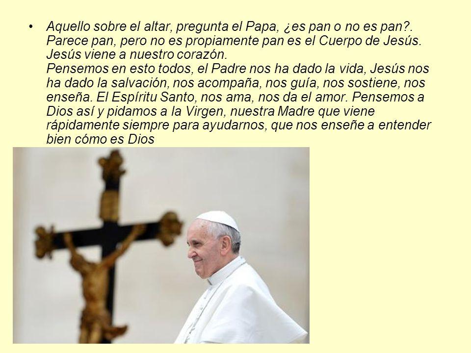 Aquello sobre el altar, pregunta el Papa, ¿es pan o no es pan?. Parece pan, pero no es propiamente pan es el Cuerpo de Jesús. Jesús viene a nuestro co