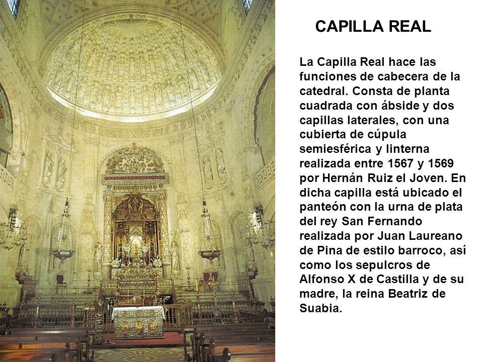 CAPILLA REAL La Capilla Real hace las funciones de cabecera de la catedral. Consta de planta cuadrada con ábside y dos capillas laterales, con una cub