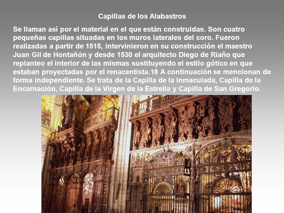 Capillas de los Alabastros Se llaman así por el material en el que están construidas. Son cuatro pequeñas capillas situadas en los muros laterales del