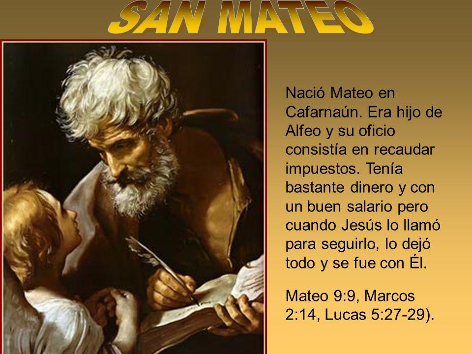 Nació Mateo en Cafarnaún. Era hijo de Alfeo y su oficio consistía en recaudar impuestos. Tenía bastante dinero y con un buen salario pero cuando Jesús