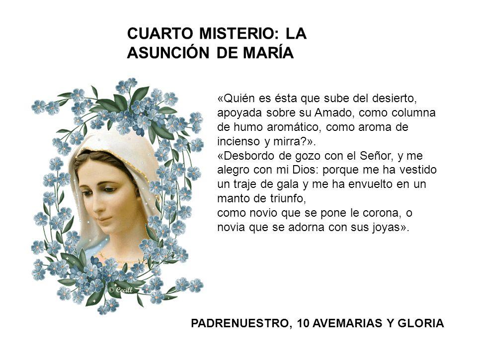 CUARTO MISTERIO: LA ASUNCIÓN DE MARÍA «Quién es ésta que sube del desierto, apoyada sobre su Amado, como columna de humo aromático, como aroma de inci
