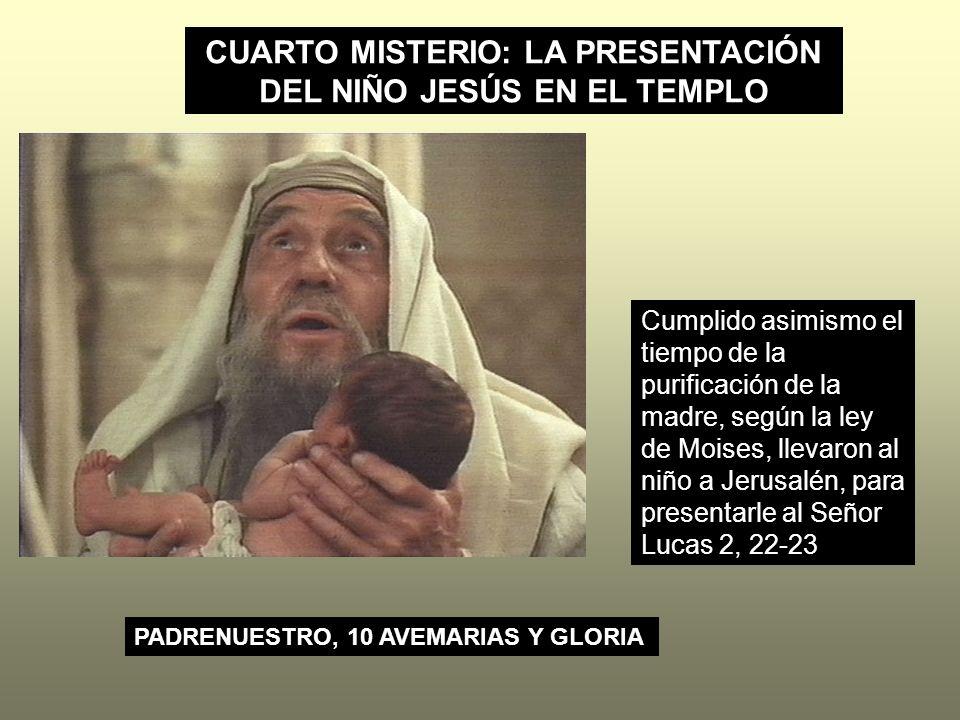 CUARTO MISTERIO: LA PRESENTACIÓN DEL NIÑO JESÚS EN EL TEMPLO Cumplido asimismo el tiempo de la purificación de la madre, según la ley de Moises, lleva
