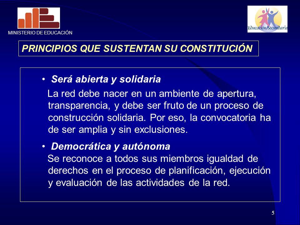 5 PRINCIPIOS QUE SUSTENTAN SU CONSTITUCIÓN Será abierta y solidaria La red debe nacer en un ambiente de apertura, transparencia, y debe ser fruto de u