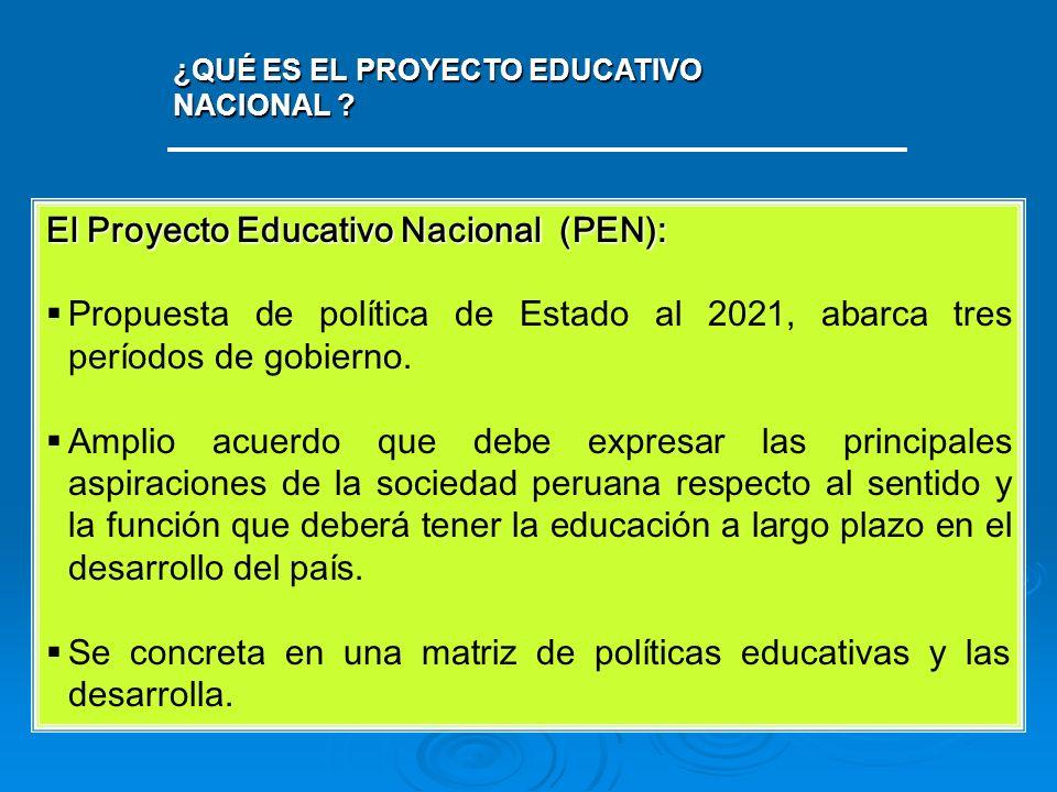 ¿QUÉ ES EL PROYECTO EDUCATIVO NACIONAL ? El Proyecto Educativo Nacional (PEN): Propuesta de política de Estado al 2021, abarca tres períodos de gobier