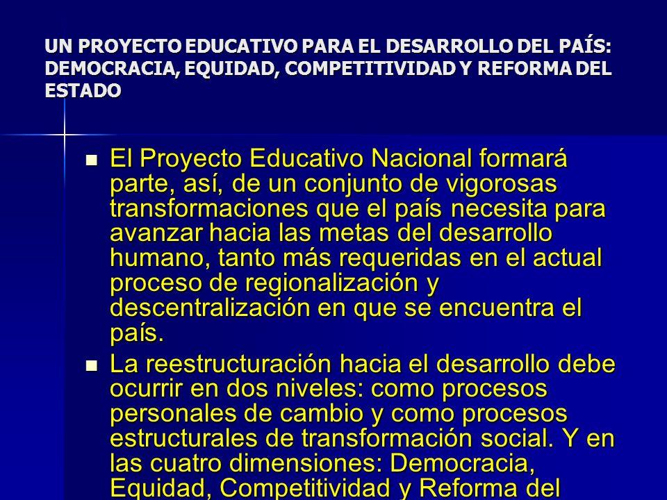 UN PROYECTO EDUCATIVO PARA EL DESARROLLO DEL PAÍS: DEMOCRACIA, EQUIDAD, COMPETITIVIDAD Y REFORMA DEL ESTADO El Proyecto Educativo Nacional formará par