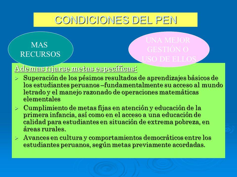 CONDICIONES DEL PEN Además fijarse metas específicas: Superación de los pésimos resultados de aprendizajes básicos de los estudiantes peruanos –fundam