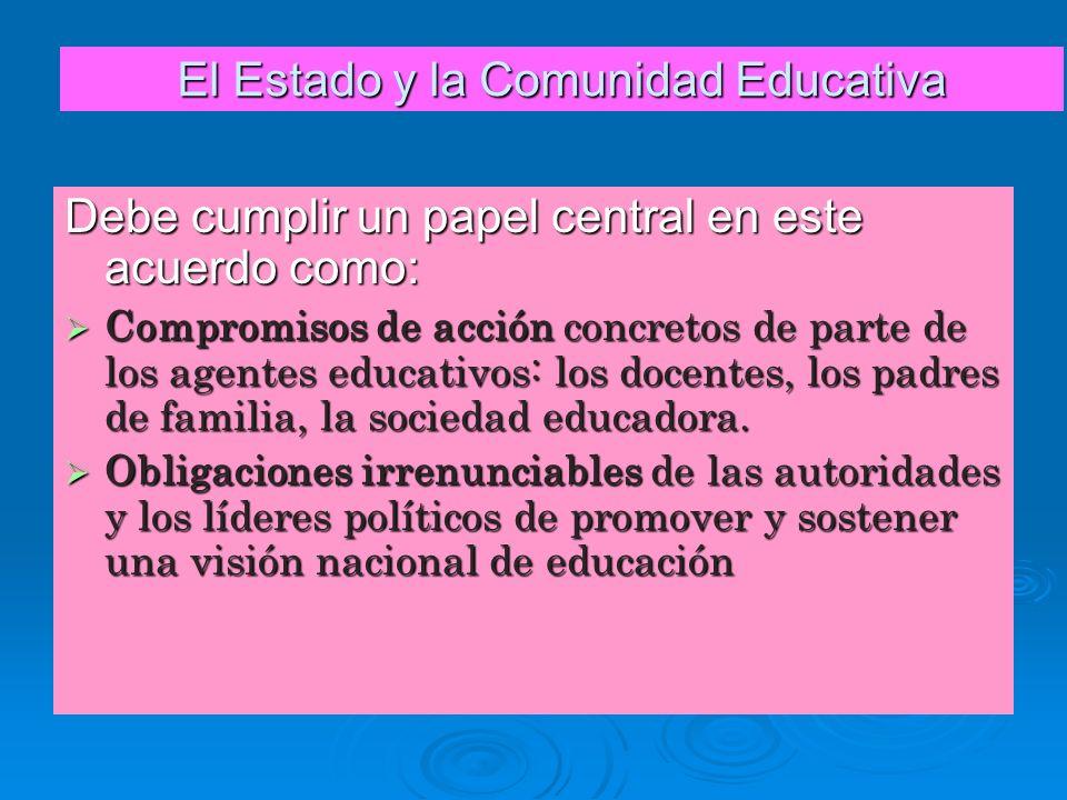 El Estado y la Comunidad Educativa Debe cumplir un papel central en este acuerdo como: Compromisos de acción concretos de parte de los agentes educati