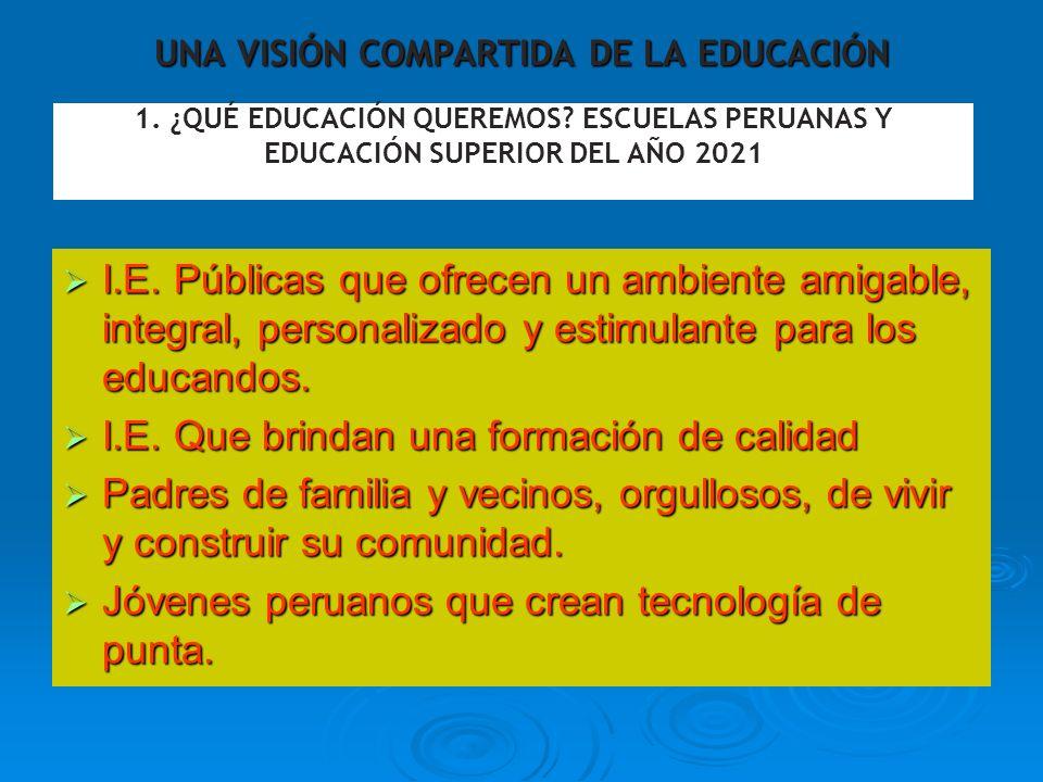 UNA VISIÓN COMPARTIDA DE LA EDUCACIÓN I.E. Públicas que ofrecen un ambiente amigable, integral, personalizado y estimulante para los educandos. I.E. P